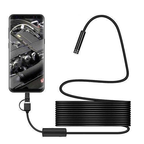 3 in 1 Waterproof USB Port Endoscope 8 mm Visual Lens Mini Camera 5 m