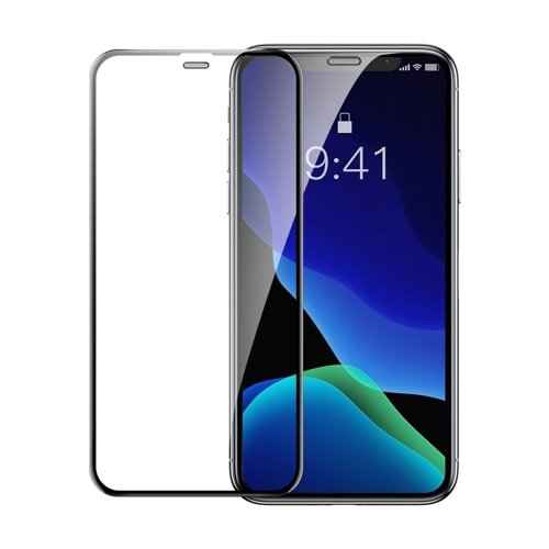 Baseus 2x full-screen curved tempered glass with frame screen protector for iPhone 11 Pro Max / iPhone XS Max black (SGAPIPH65-WD01)