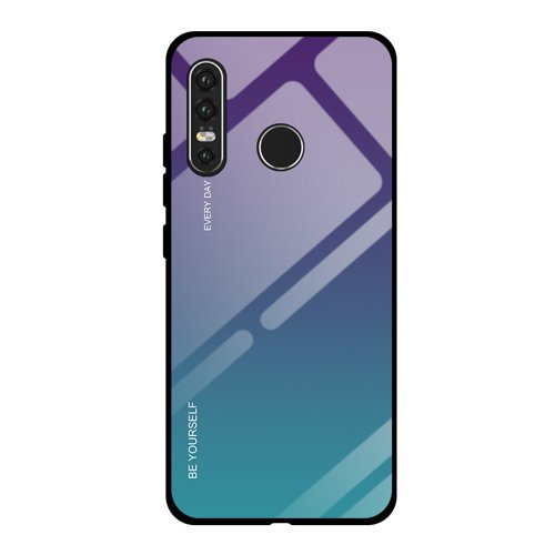 Gradient Glass Durable Cover with Tempered Glass Back Huawei P30 Lite green-purple
