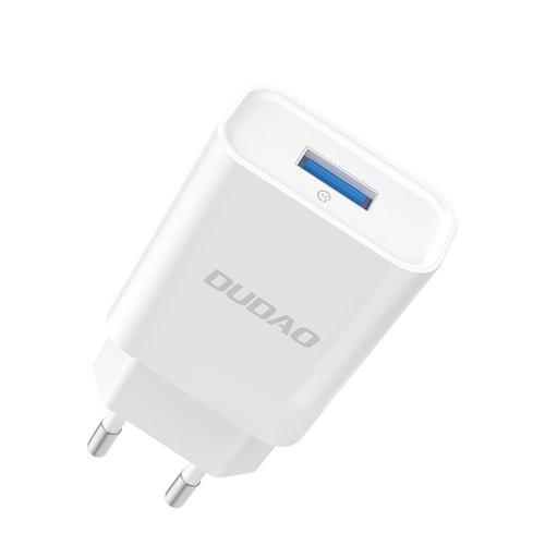 Dudao Home Travel EU Adapter USB Wall Charger 5V/2.4A QC3.0 Quick Charge 3.0 white (A3EU white)