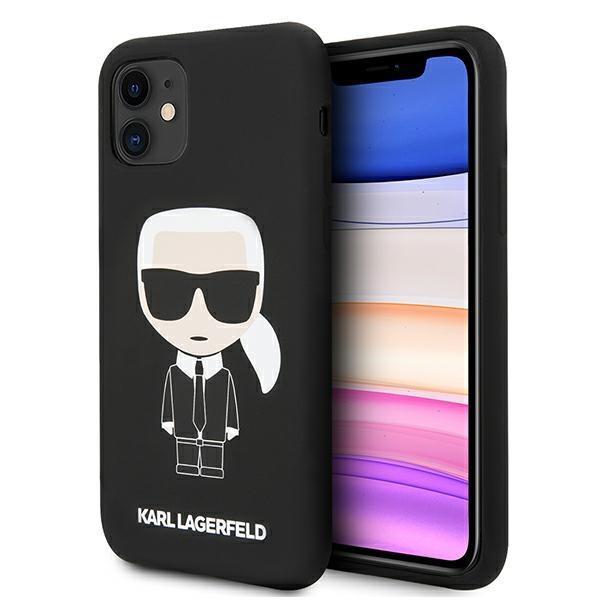 Karl Lagerfeld KLHCN61SLFKBK iPhone 11 Hardcase schwarz / schwarz Silikon Iconic