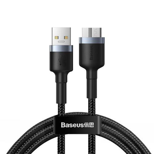 Baseus Cafule wytrzymały nylonowy kabel przewód USB 3.0 / micro USB SuperSpeed 2 A 1 m szary (CADKLF-D0G)