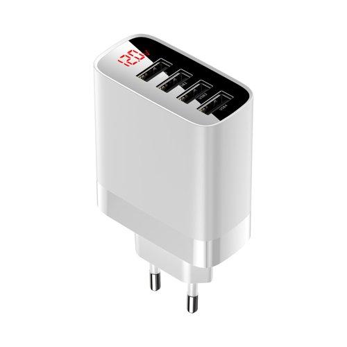 Baseus Mirror Lake szybka ładowarka EU 4x USB 30W 6A z wyświetlaczem biały (CCJMHB-B02)
