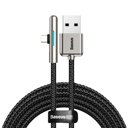 Baseus kątowy nylonowy kabel przewód USB Typ C dla graczy 4A 40W Huawei Super Charge 2m czarny (CAT7C-C01)